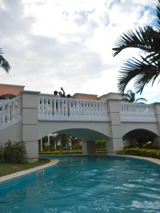 That's my boss waving at me in the lazy river. Thanks for letting me go to Jamaica, boss!